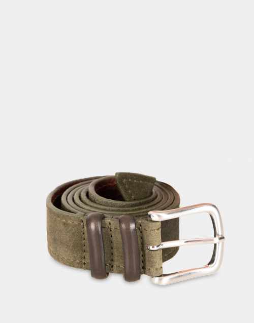 Cintura in pelle scamosciata verde muschio