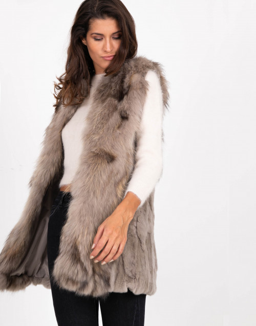 Taupe sleeveless fur