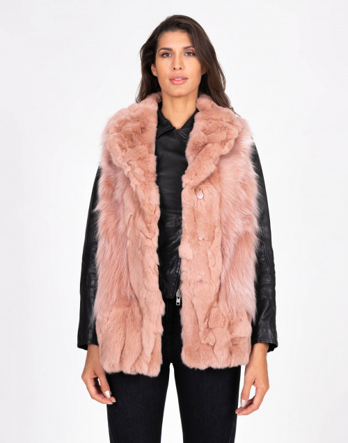 Sleeveless pink fur