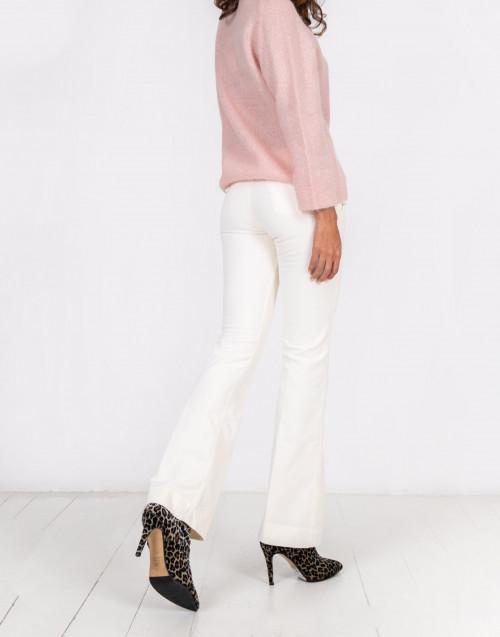 Pantalone Sienna a zampa in velluto a coste color avorio
