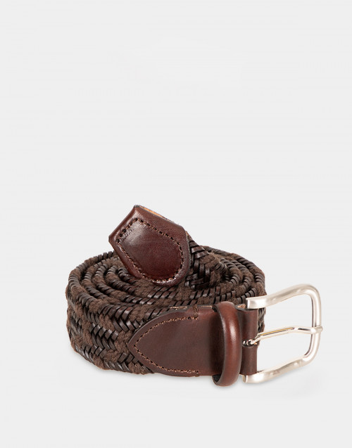 Dark brown braided leather belt