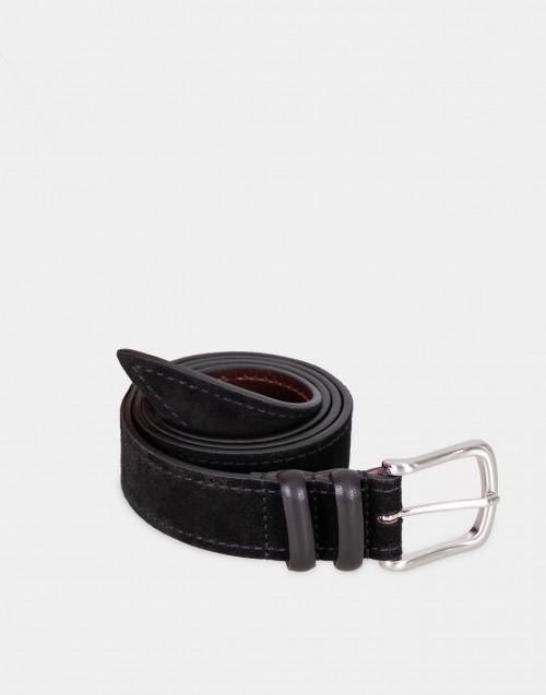 Cintura in pelle nera scamosciata
