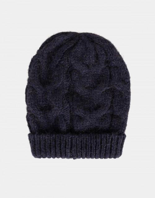 Cuffia in lana intrecciata blu