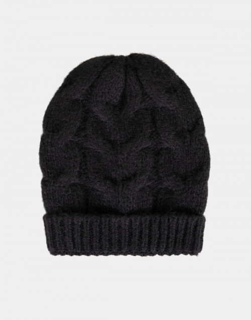 Cuffia in lana intrecciata nera