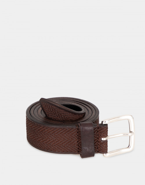 Brown herringbone belt