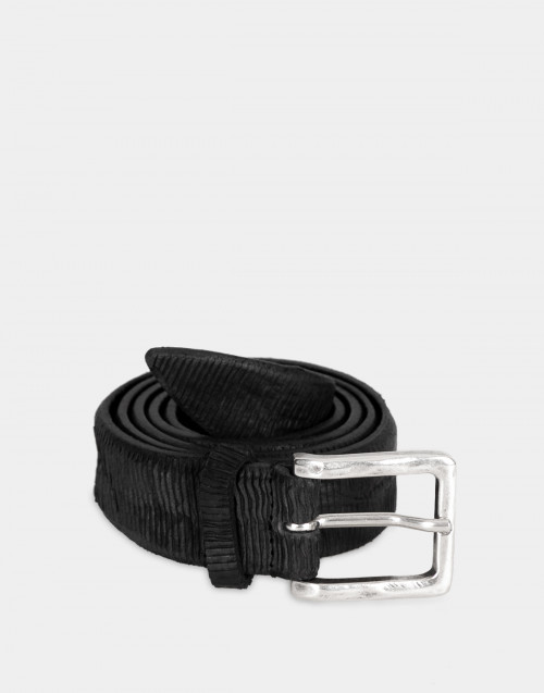 Lasered leather belt