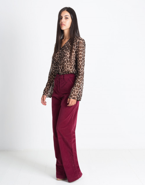 Oversized Burgundy Velvet Trousers