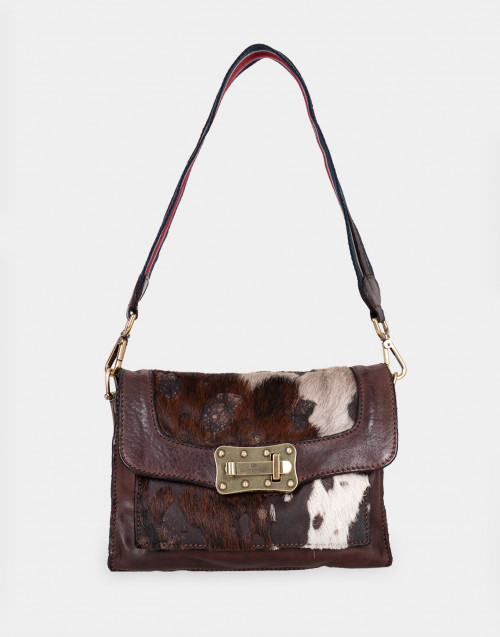 Calf hair shoulder bag