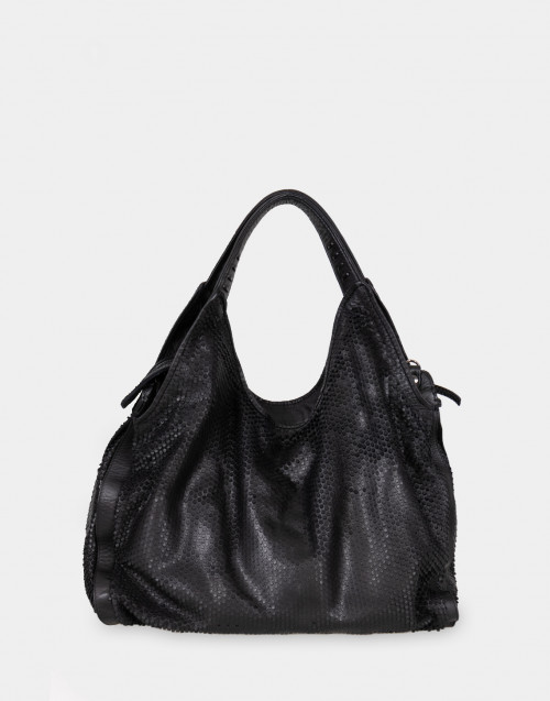 Pierced leather shoulder bag