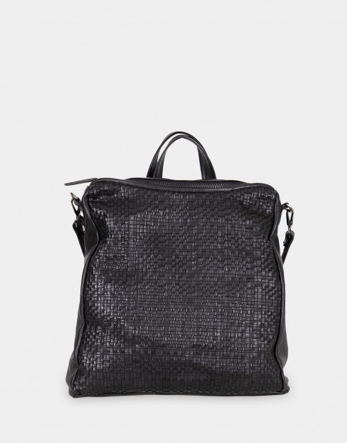 Woven black leather backpack