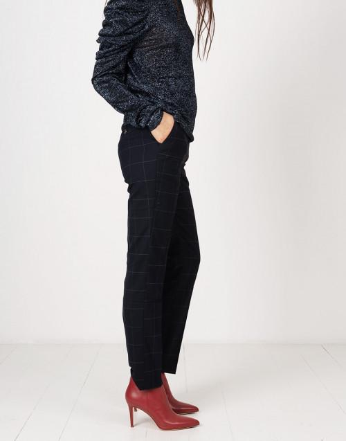 Pantaloni chino blu a quadri