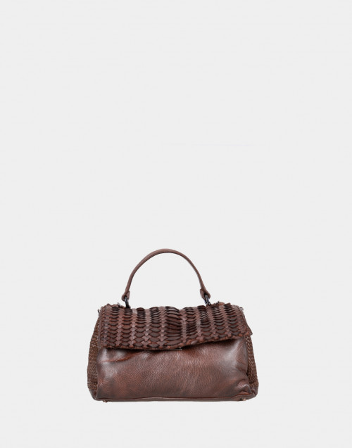 Woven brown leather shoulder bag