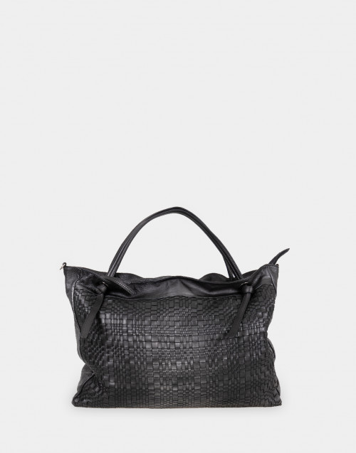 Woven black leather shopping bag
