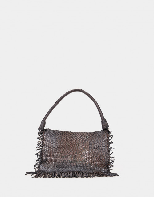 Woven leather shoulder bag