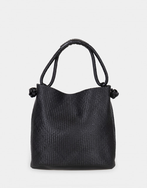 Woven black leather shoulder bag