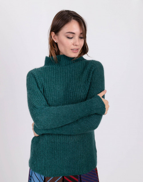 Teal color mohair blend high collar sweater