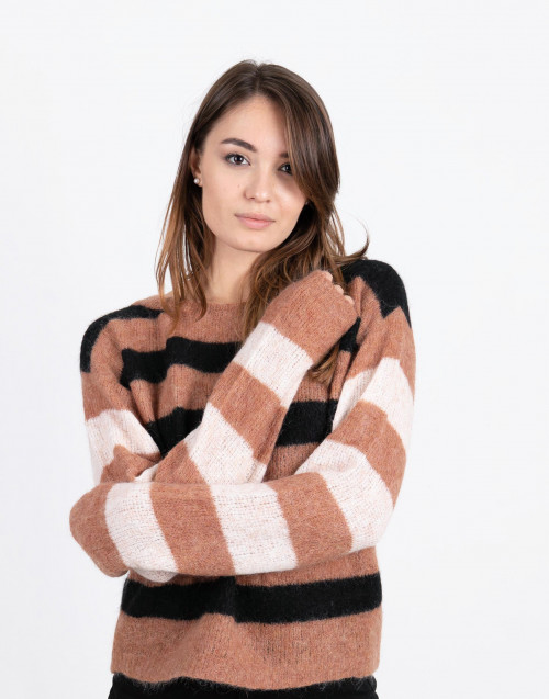 Black and pink striped wool sweater