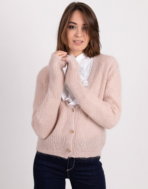 Cardigan in lana rosa