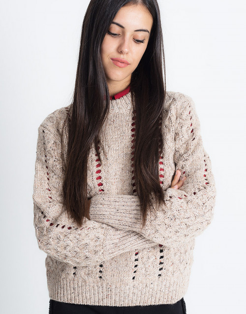 Beige Perforated Wool Sweater