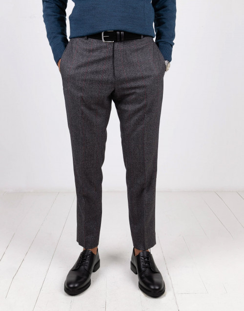 Edoardo gray and red Prince of Wales trousers