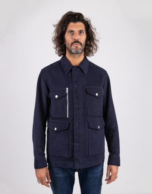 Field jacket in cotone blu