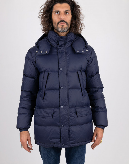 Blue quilted down jacket
