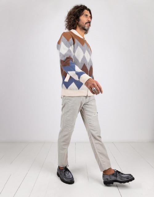 Bomber in lana e cashmere a losanghe