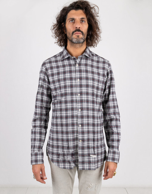 Gray and red tartan cotton shirt