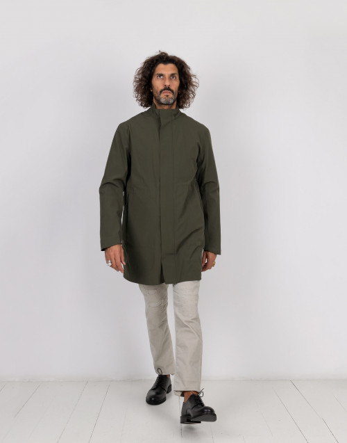 Military green techno parka with inside down jacket
