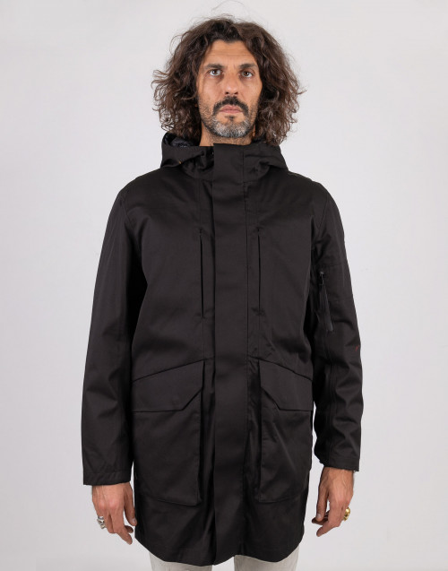 Black parka with removable lining