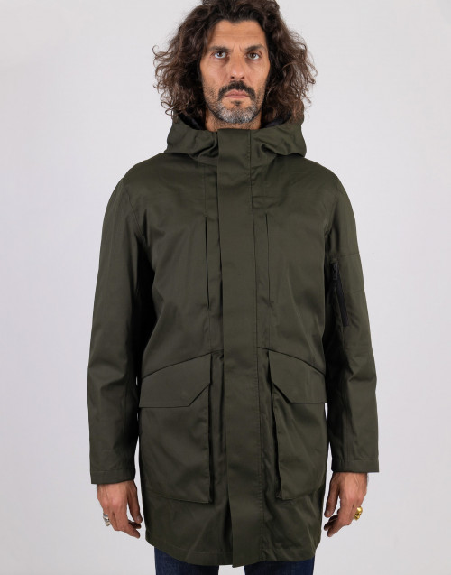 Military green parka with removable lining