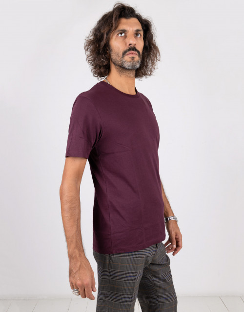 Burgundy basic cotton t-shirt
