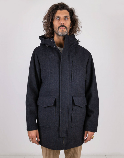 Blue wool parka