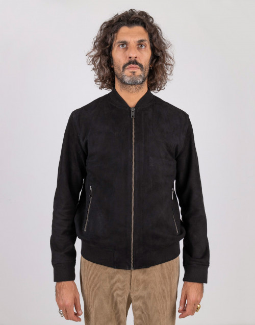 Bomber in suede nero