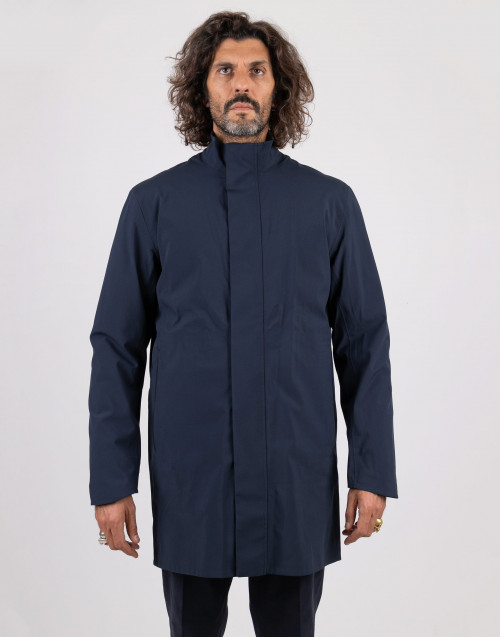 Blue techno parka with inside down jacket