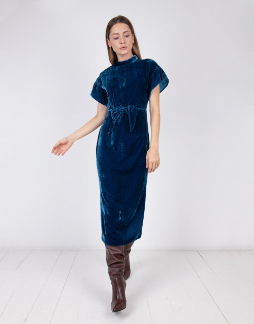 Teal color velvet midi dress