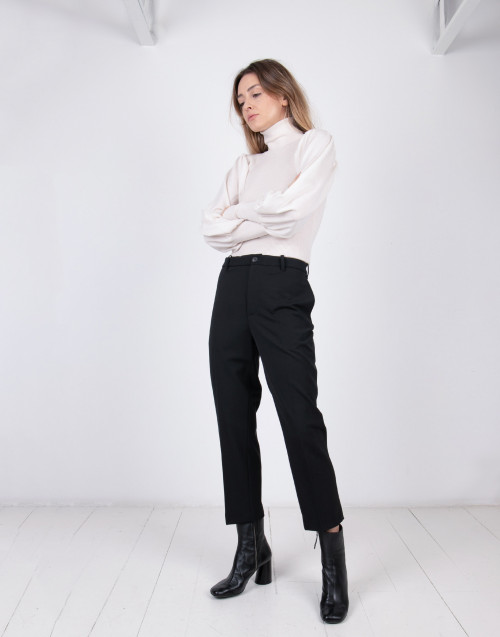 Black wool cigarette pants