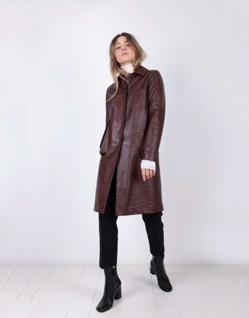Eco friendly patent leather coat