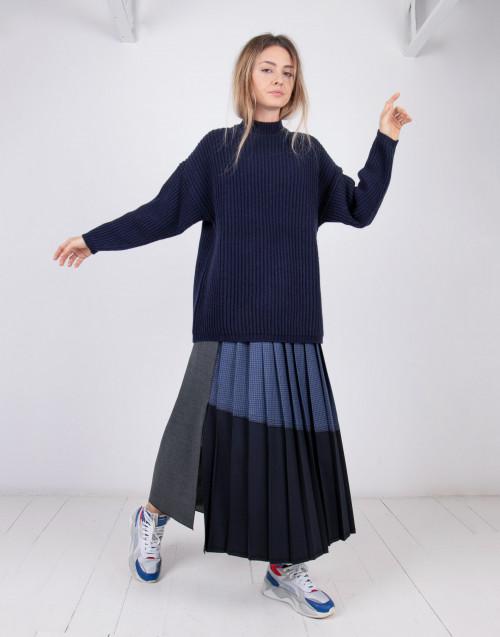 Maglione over in lana blu