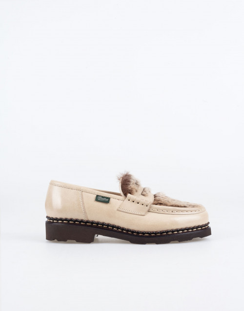 Orsay loafer in beige lapin leather