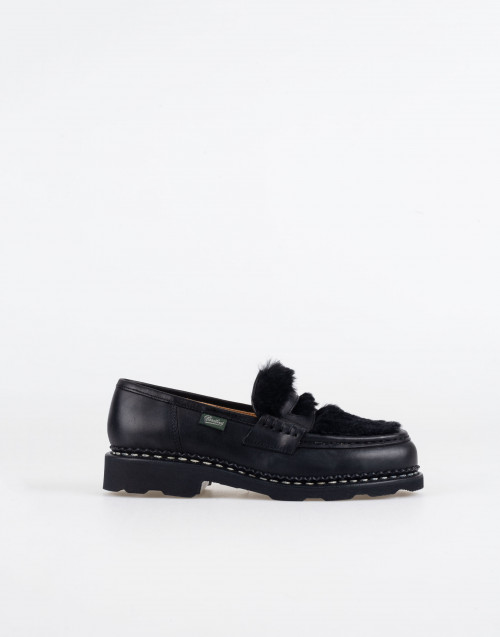 Orsay loafer in black lapin leather