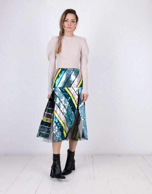 Multicolor micro sequins embellished skirt