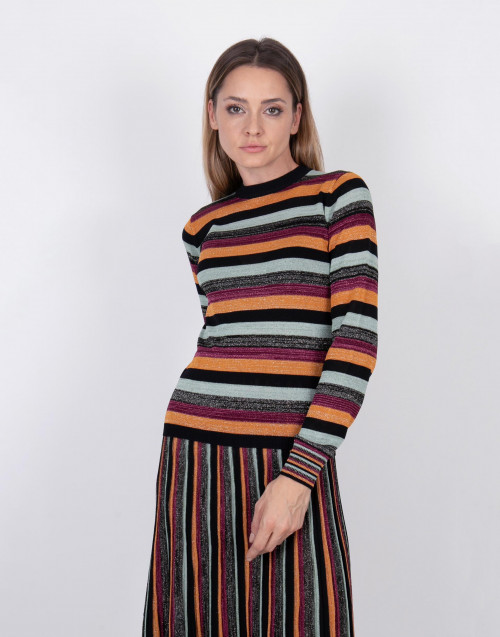 Multicolor stripes lurex knit sweater