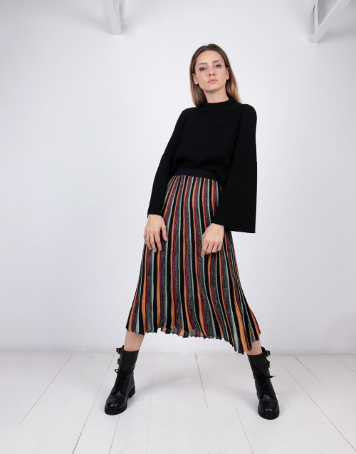 Lurex pleated long skirt