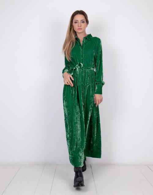 Green velvet midi dress