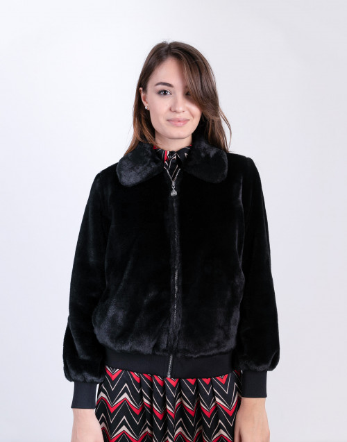 Black eco-fur jacket