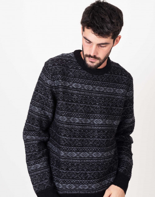 Grey and black crewneck sweater