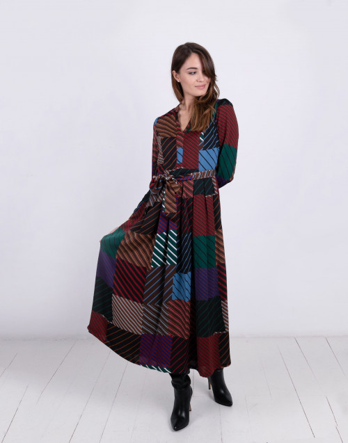 Color-block striped long dress