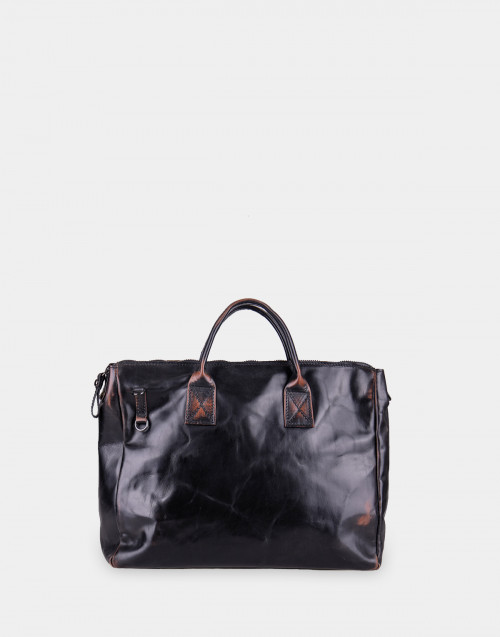 Professional bag in black semi glossy leather