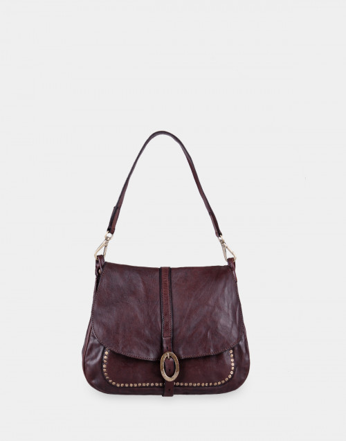 Brown shoulder bag with studs